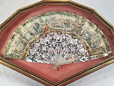 Beautiful Antique French or Chinese Export MOTHER OF PEARL Carved FAN