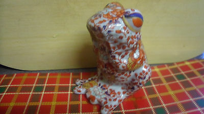 Vintage Chinese Imari Sitting Frog Figurine Hand Painted Floral 4 Character Mark