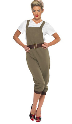 Ladies Fancy Dress 1940s WW2 Khaki Land Girl Costume Army World War Two -4 Sizes