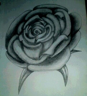 Original pencil drawing.Rose on A5 paper