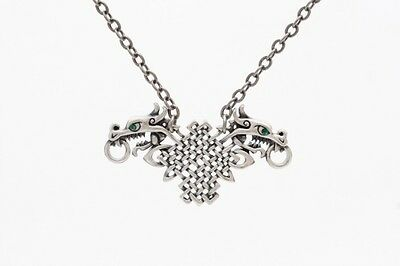 Celtic Tribal Designs Dual Dragon Head Necklace Pendant. Cool Pewter Jewelry