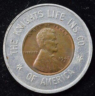 1947-D Encased Lucky Cent - The Knights Life Insurance Company of America