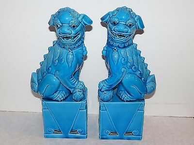 "NICE Pair Antique Chinese FOO DOG Statues Turquoise Blue Glaze 10"" Porcelain"