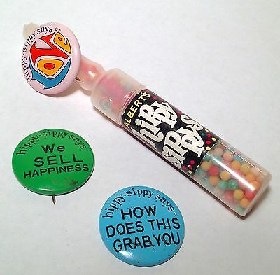 BANNED 1969 Alberts HIPPY SIPPY Psychedelic Candy Container Woodstock + 2 Pins