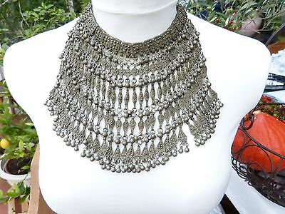 Antique Yemen Silver and coral KIRDAM LABBEH Necklace, Bedouin pectoral/veil