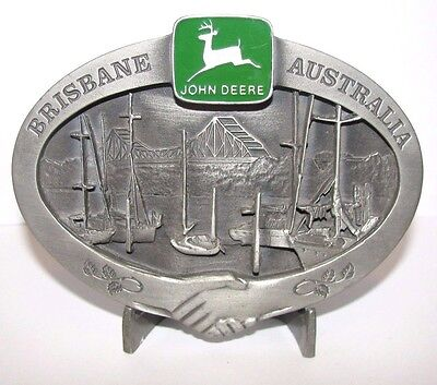 John Deere Pewter Belt Buckle Brisbane AUSTRALIA Storey Bridge 1997 Ltd Ed 3/250