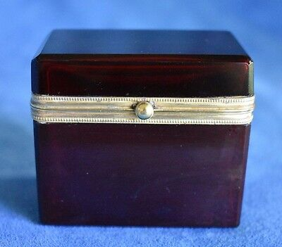 Fine Antique French Dark Red Ruby Cranberry Glass Gold Bronze Ormolu Box Casket