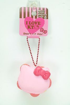 Official Hello Kitty Sweet Cafe Strawberry Macaroon Squishy Key chain