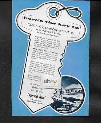 Ingersoll Hotel In Downtown Ketchikan,alaska 1967 Here's Your Key To Comfort Ad