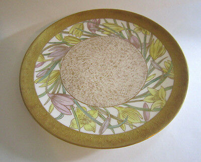 "Lovely Willets 9"" Gold Decorated Porcelain Plate w/ Hand Painted Flowers"