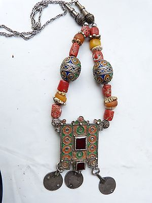 Moroccan Antique Amber and Coral Necklace, Hirz Pendant, Berber Necklace,