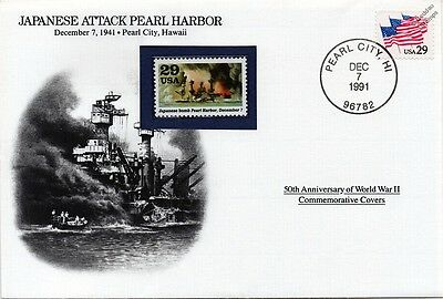 WWII 1941 Japanese Attack Pearl Harbor Warship Stamp Cover (USA/Danbury Mint)