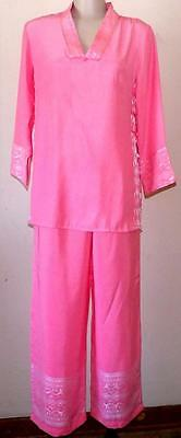 Oriental Silk Outfit Womens Asian Pants Set Size M Pink NWOT