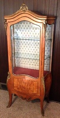 Antique french Louis XV Tulipwood Glass Ormolu Vitrine China Hutch Tufted