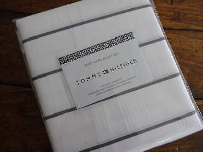 TOMMY HILFIGER Classic GRAY White STRIPE Easy Care KING DUVET Sham SET 3PC