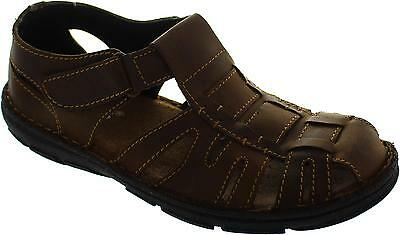 Lotus Walsh Men's Brown Leather Leather Closed Toe Fisherman Style Sandals New
