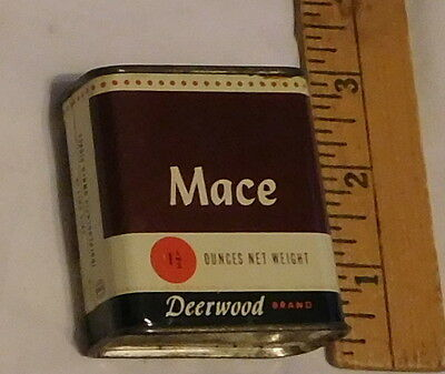 vintage Deerwood Brand Mace 1 1/2 oz nt weight Tin can spice Chicago Illinois