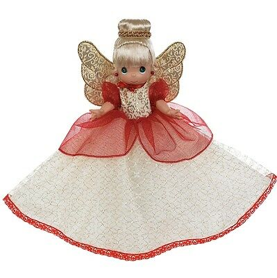 New PRECIOUS MOMENTS Vinyl Doll CHRISTMAS TREE TOPPER Red White Gold ANGEL CONE