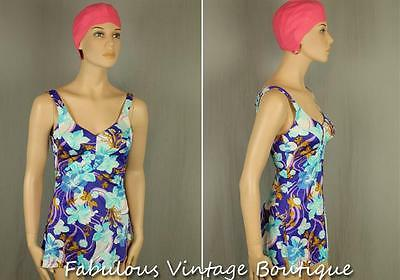 Vtg ROSE MARIE REID Floral Rockabilly One-Piece Bathing Swimwear Swimsuit Pin-Up