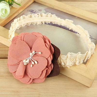 A Baby Girls Toddler Kids Headwear lace Flower Infant Headband Hair Accessories