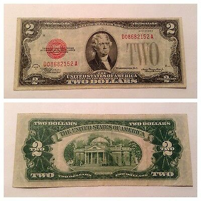 Vintage $2 1928-D Federal Reserve Note Two Dollar Jefferson Red Seal Dollars