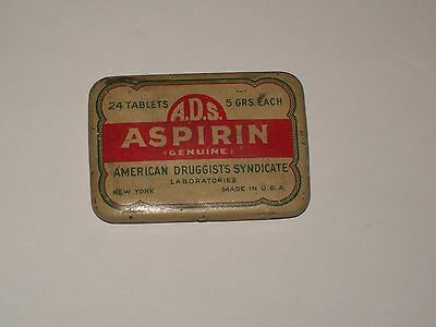 Vintage-Medicine-Tin-American Druggists Syndicate-ADS-ASPIRIN-Tablets-Empty