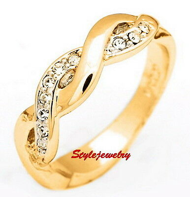 Gold Plated Women Wedding Eternity Ring Band Made With Swarovski Crystal SR76