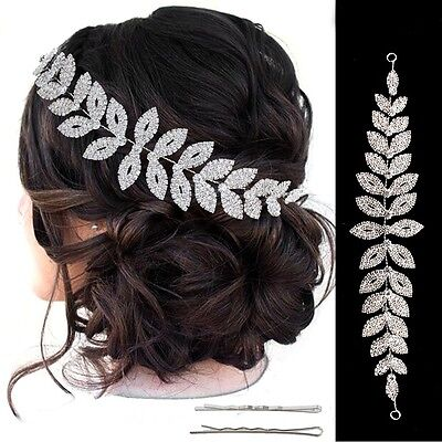 Bridal Crystal Silver Leaves Design Hair Accessories Flexible Headband Band