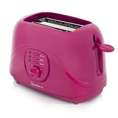 Signature 800W Pink 2 Slice Electric Kitchen Toaster Cool Touch Indicator Lights