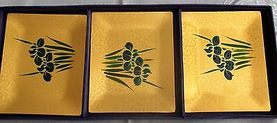 Rare Decorative Glass Small Trays*set Of 3*vintage*nib*gold W/cobalt Blue Flower