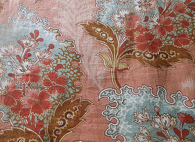 Antique 19thc Hydrangea Floral Cotton Fabric ~Tawny Red Brown Apricot Blue Gray