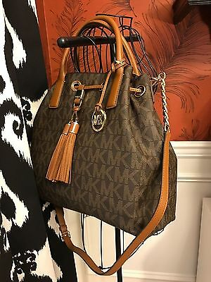 Nwt Michael Kors Signature Pvc Camden Large Drawtring Satchel Bag In Brown