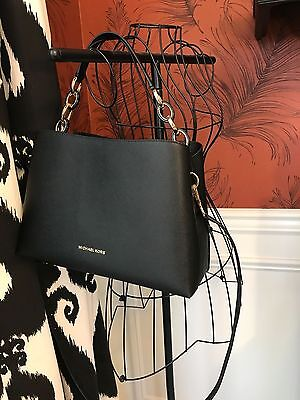 Nwt Michael Kors Saffiano Leather Portia Large Ew Satchel Bag In Black