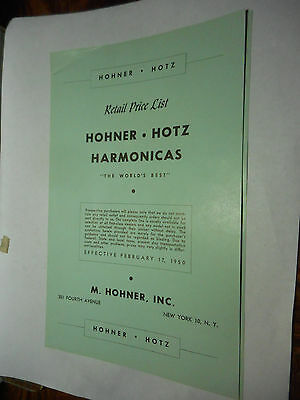 1950, Horner - Holts Harmonicas, Retail Price List