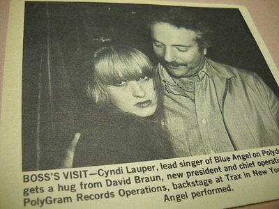 Cyndi Lauper of BLUE ANGEL at Trax in NYC rare original 1980 music biz image/txt