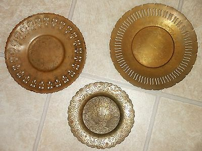 3 Vintage Ornate Brass Serving Trays Wm. A. Rogers