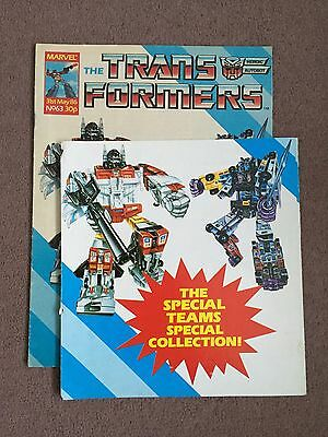 Transformers Comic Marvel Uk #63 With Used Special Teams Free Gift Card & Poster