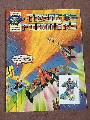 Transformers Comic Marvel Uk #67 With Immaculate Special Teams Card Free Gift