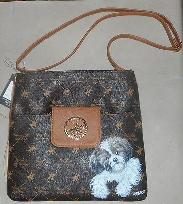 Shih Tzu dog Hand Painted Designer Handbag Crossbody Bag Purse