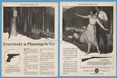 1920 Remington Model 51 Automatic Pistol  No 12 12A Rifle Gun Woman Shooting Ad