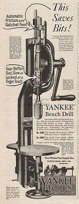 1920 Yankee Tools Bench Drill North Bros Mfg Philadelphia Hand Crank Press Ad