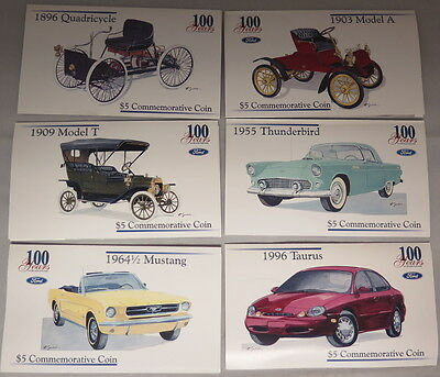 "Set Of Six  ""ford 100  Years"" Marshall Island $5 Commemorative Coins"