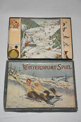 Antikes Brettspiel Wintersport Spiel 1910 Ravensburger Zinnfiguren Tin Figurines