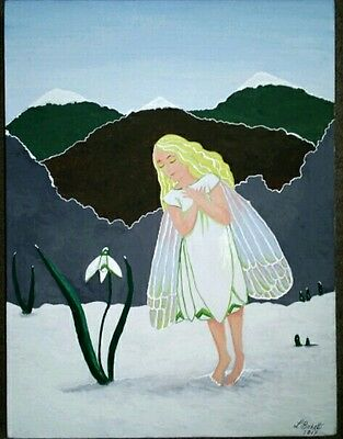 Snowdrop Fairy.original Acrylic Painting By Witchyfluff.on Canvas.signed.