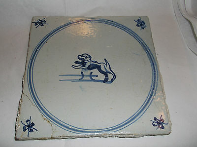 """Antique BLUE AND WHITE   jumping DOG  TILE 6"""" sq"""