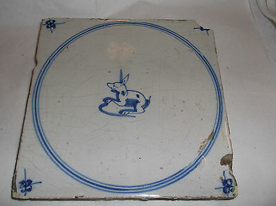 """Antique BLUE AND WHITE   jumping  RABBIT   TILE 6"""" sq"""
