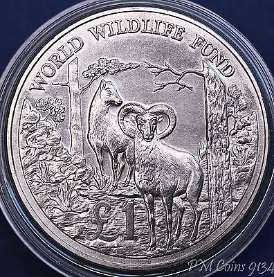 World Wildlife Fund £1 1986 Cyprus mufflons, silver 925 (in capsule) *[9133]