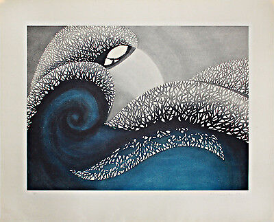 KUNIMITSU Japanese Woodblock Print THE GREAT WAVE IN THE 20th CENTURY 1980