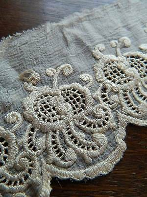 """Antique cream silk hand embroidered lace flounce. 3"""" x 54"""""""