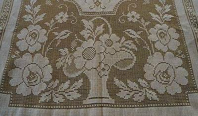 True Vintage Golden Yellow Embroidered Net Lace Tablecloth Flower Baskets